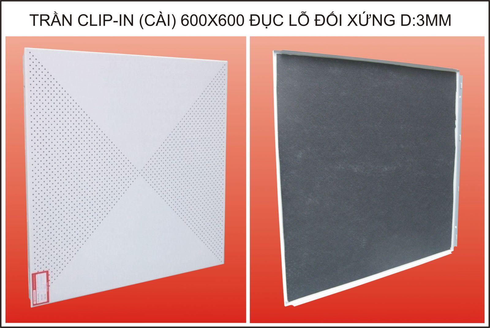 Trần nhom Clip-in, đục lỗ đối xứng